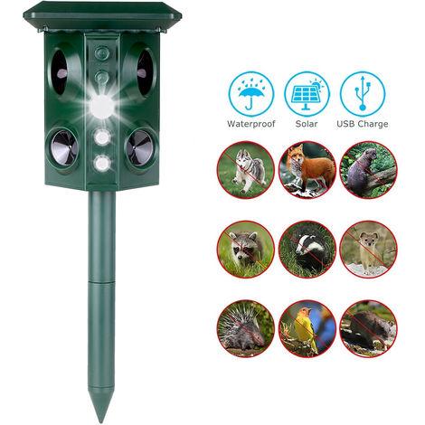 Ultrasonico solar repelente de animales con sensor de movimiento y la luz intermitente de frecuencia ajustable a prueba de agua al aire libre electronica de disuasion para el conejo ardilla
