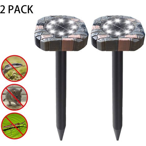 Ultrasonidos electrica solar repelente de plagas LED luz del cesped Repel Mole Gopher Raton Raton for exterior para Cesped Patio, blanco, cuadrado