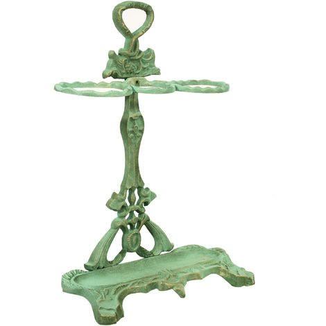 Umbrella stand in cast iron with antique green finish