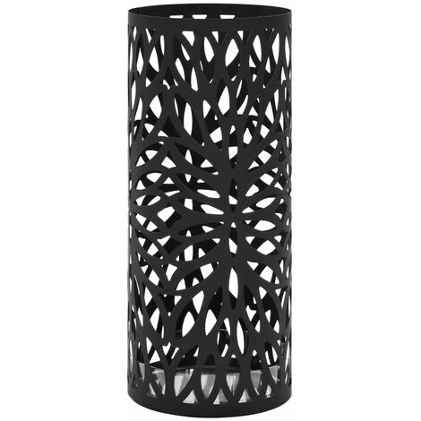 Umbrella Stand Leaves Steel Black