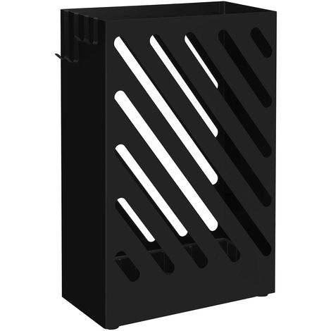 Umbrella Stand, Umbrella Holder with Hooks, Water Tray, Hollow-Out Design, Rectangle, Black/White