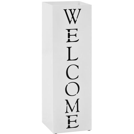 Umbrella Stand Welcome Steel White