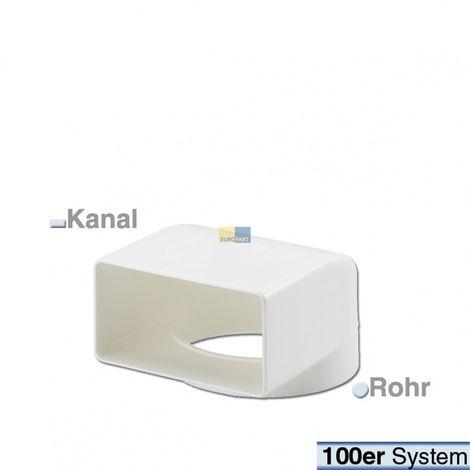 Umlenkstück 100er F//R 90° Umlenkung Flachkanal und Rund-Anschluss Abluftsystem