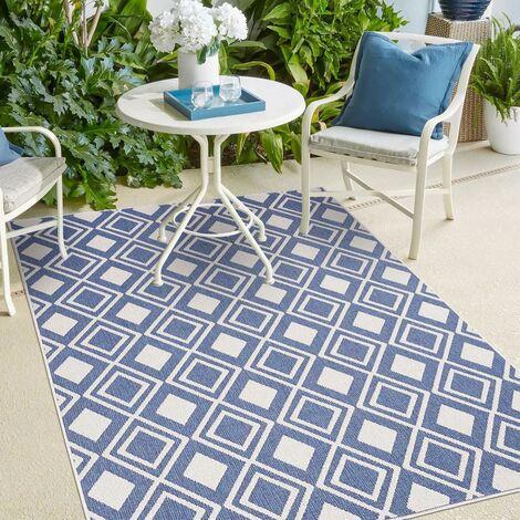UN AMOUR DE TAPIS AF DAMLOS REVERSIBLE cm Tapis Moderne Tapis Terrasse, jardin Tapis Rectangulaire Tapis Bleu