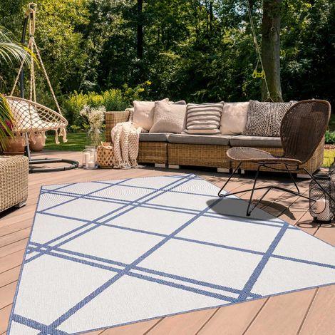 UN AMOUR DE TAPIS AF DOUBLINE REVERSIBLE cm Tapis Moderne Tapis Terrasse, jardin Tapis Rectangulaire Tapis Bleu