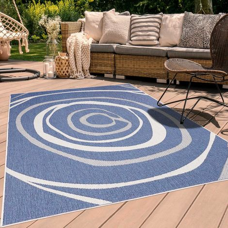 UN AMOUR DE TAPIS AF RONBI REVERSIBLE cm Tapis Moderne Tapis Terrasse, jardin Tapis Rectangulaire Tapis Bleu