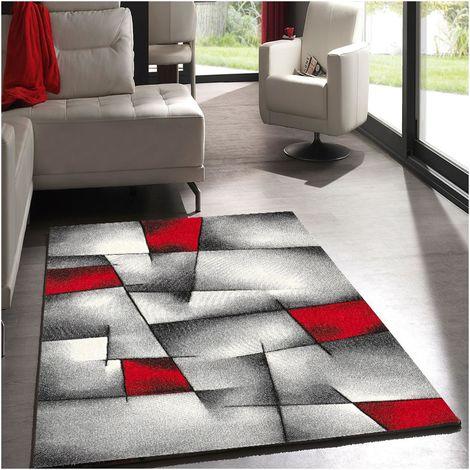 UN AMOUR DE TAPIS - BRILLANCE ULTIMATE - cm - Petit tapis Moderne Design Tapis Entrée tapis salon tapis Rouge et gris Couleurs et Tailles Disponibles