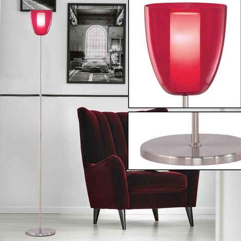 Un lampadaire en acier avec l'abat-jour rouge - eglo87556