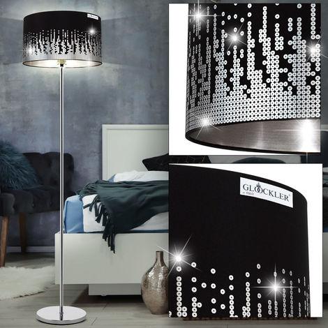 Un lampadaire en chrome et textile noir avec des paillettes - eglo31779
