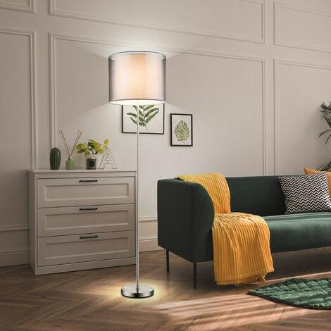 Un lampadaire en textile gris et nickel mat pour la chambre - 15190S