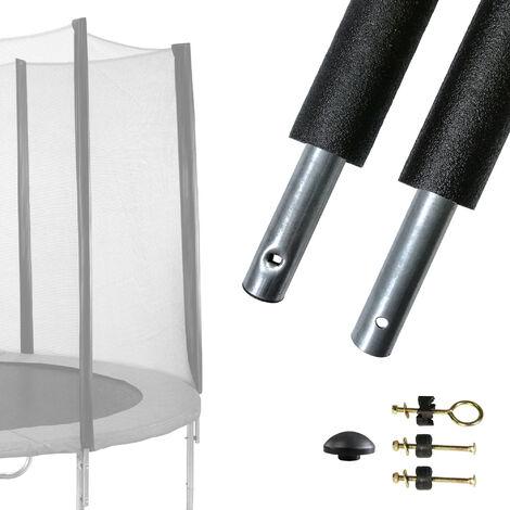 Un poteau de filet de sécurité Ø25mm universel (fixation réglable) pour trampolines de jardin toutes marques - Noir