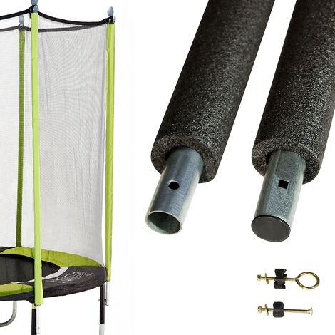 Un poteau de filet standard Ø25mm pour trampolines de jardin avec mousse et visserie - Noir