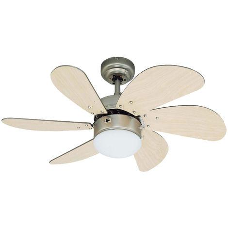 Un ventilateur avec un interrupteur à tirette et éclairage