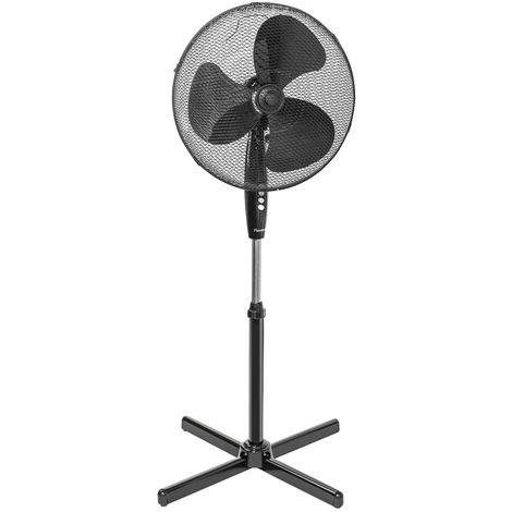 Un ventilateur sur pied réglable en hauteur en noir