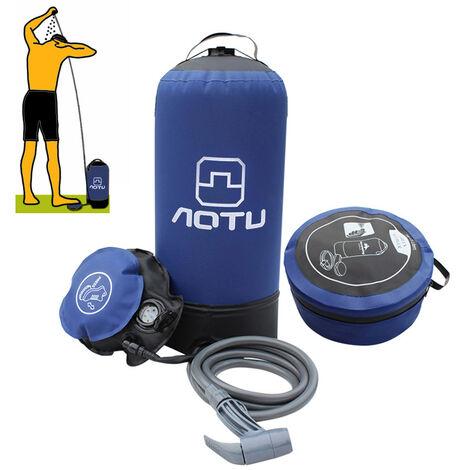 Una presion de la ducha de PVC 11L, con bomba de pie, Ducha Exterieure Azul