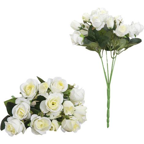 Una rama artificial rosa 15 cabezas flores de imitacion,Leche blanca(no se puede enviar a Baleares)