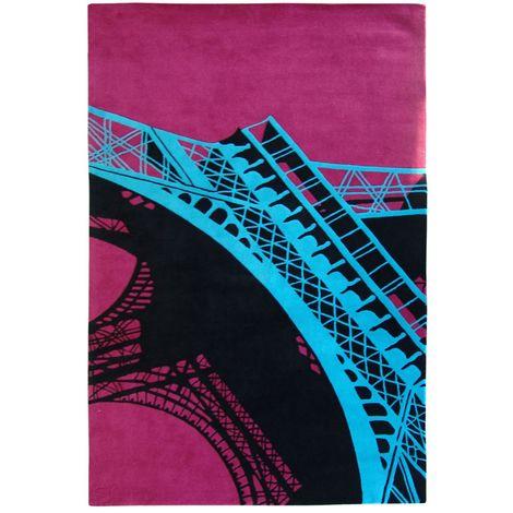 Unamourdetapis - Tapis de Salon Moderne Design - EIFFEL Rose - Laine de Nlle-Zélande 180 x 270 cm