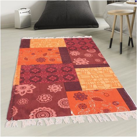 Unamourdetapis   Tapis De Salon Moderne Design   TAPIS FRANGES ORANGE CRUSH    Coton