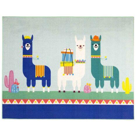 Unamourdetapis - Tapis pour enfants chambre - FAMILY LAMA MD - Nylon 95 x 125 cm