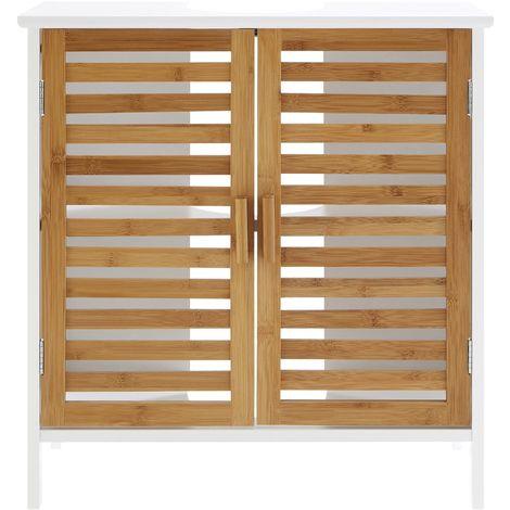 Under Sink Cabinet,Double Door/One Inner Shelf,MDF White Finish/Bamboo Door/Particle Board & Melamine Shelf