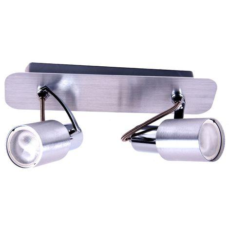 Une applique en aluminium et acier avec deux spots mobiles