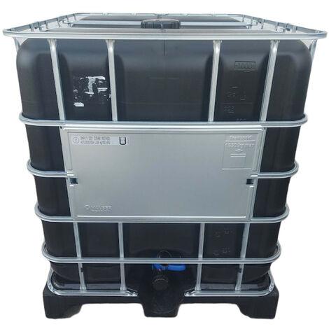 une cuve IBC 1000 litres noir sur palette plastique pour réserve d'eau (pas de livraison en corse ou ile)