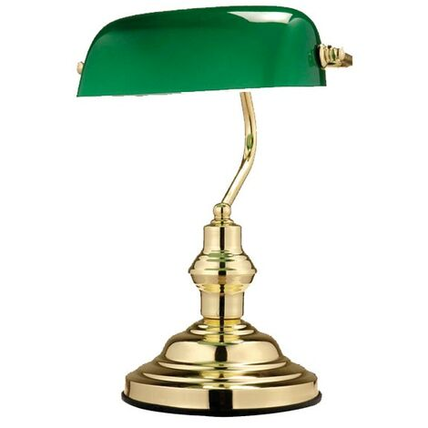 Une lampe de bureau ancienne en métal laiton et verre vert