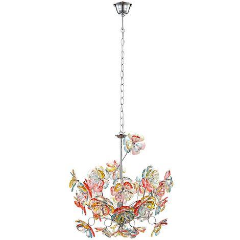 Une suspension au design floral multicolore pour la maison