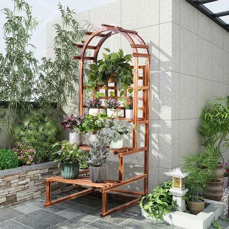 UNHO Escalier pour Fleurs avec Treillage En Bois Etagère Echelle Treillis pour Plantes Grimpantes Rosier Clématite Jardinère