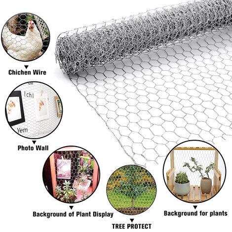 UNHO Grillage à Poule 1m x 20m Grillage Clôture Rigide pour Jardin Poulailler Voliere Clapier Maille pour Enclos d'Animaux Plantes