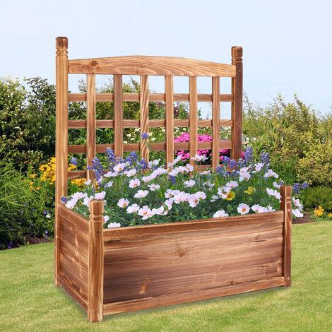 UNHO Potager en Bois avec Treillage Bac de Fleurs Jardinière 63.5x34x76cm pour Plantes Grimpantes Rosier Clématite