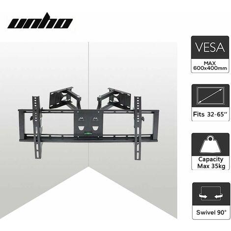 UNHO Support TV Angle Mural Support TV Murale Orientable et Inclinable Pour Écrans LED LCD Plasma 32-65 Pouces Meuble TV Mural Angle