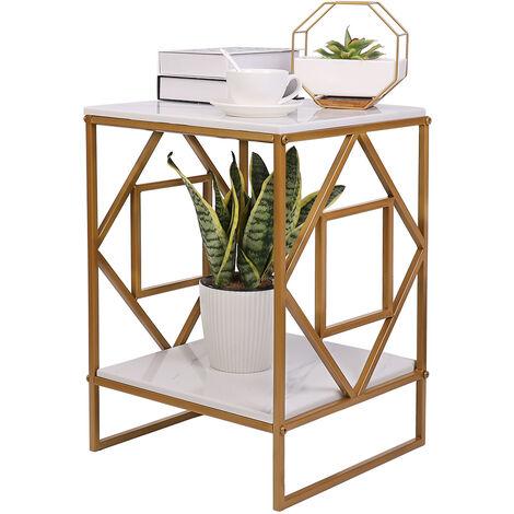 UNHO Table Basse Marbre - Table d'Appoint Carrée à 2 Niveaux - Plateau en Marbre Cadre en Fer - Table de Chevet pour Salon Chambre - 40x40x58.5cm - Blanc et Doré