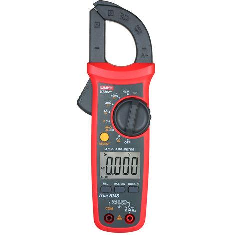 Uni-T Ut202 + 4000 Comtes Pince Numerique Multimetre Trms Pince Amperemetre Voltmetre Ncv Universel De Test Testeur De Courant Alternatif Testeur Clamp -40 ~ 1000 ¡æ Mesure De Temperature Relative Valeur Capacitance