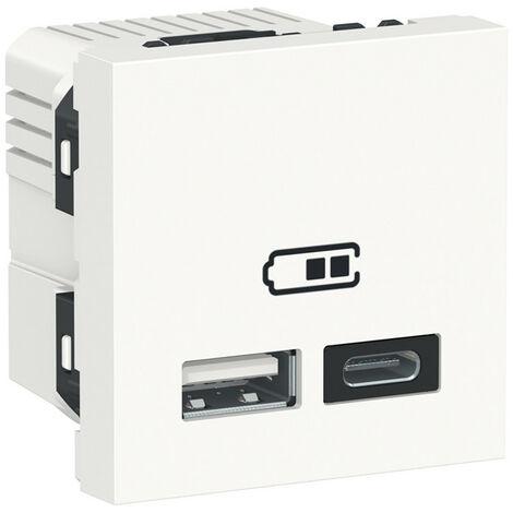 Unica - chargeur USB double - 5Vcc - 2,4A type A+C - 2 modul - blanc - méca seul (NU301818)