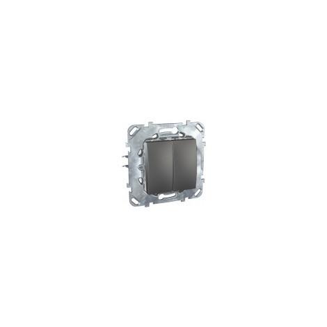 Unicatop Double interrupteur va -et-vient Graphite à composer SCHNEIDER MGU521312ZF