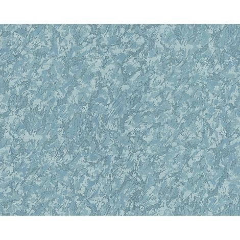Unicolour wallpaper wall EDEM 9076-29 non-woven wallpaper embossed with decorative render look and metallic effect blue turquoise 10.65 m2 (114 ft2)