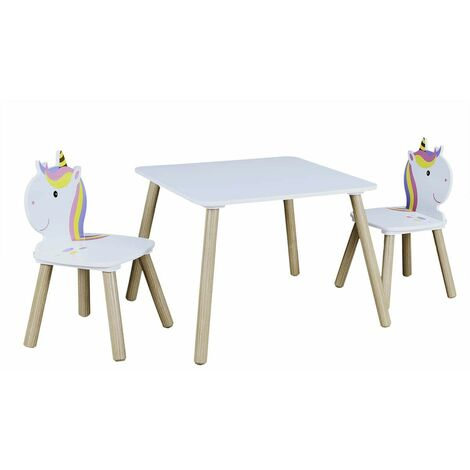 UNICORN - Ensemble Table et 2 Chaises Enfant Motif Licorne