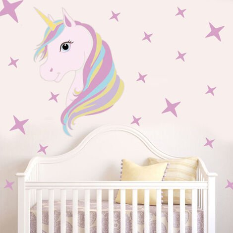 Unicorn Head Princess Wall Stickers Art Decal Home Room Decor