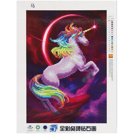 Unicornio Diamante Pintura Arte de la pared 5D DIY Decoración para el hogar LAVADO