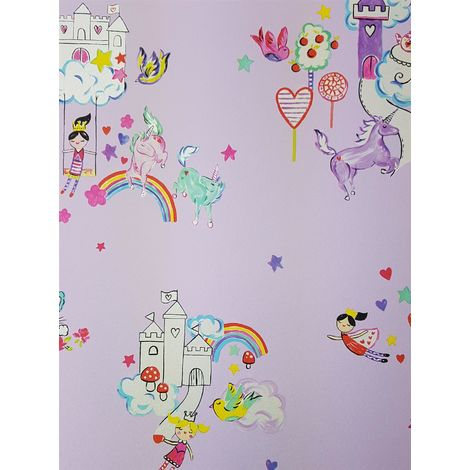 Unicorns Castles Wallpaper Princess Hearts Stars Flowers Girls