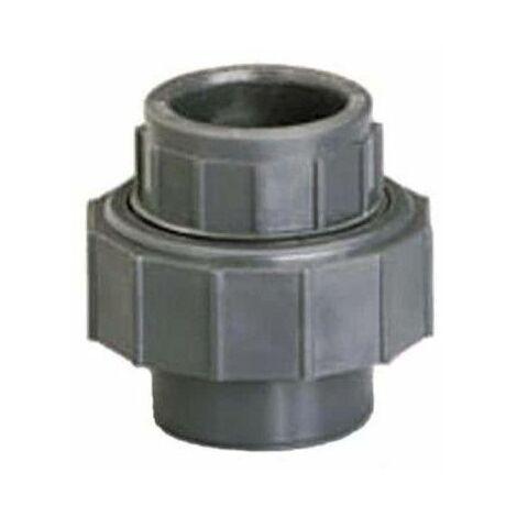 Unión 3 piezas PVC - Hembra-Hembra - Presión a encolar - Diámetro 40 mm 40876F