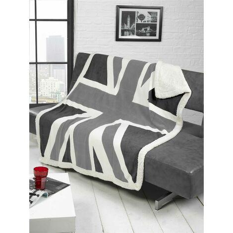 Union Jack British United Kingdom Flag Soft Grey White Black Throw Throwover
