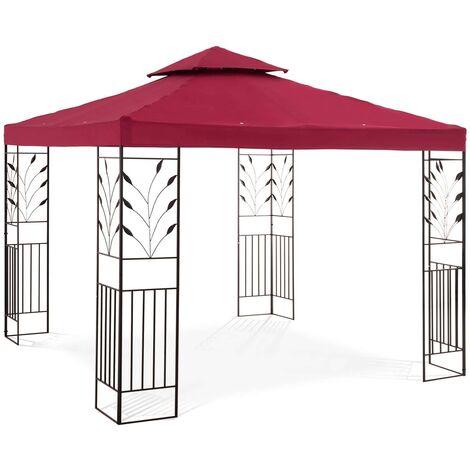 Uniprodo Pérgola De Metal Pabellón Para Jardín 3 x 3 m - 180 g/m² - tinto