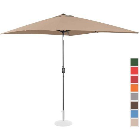 Uniprodo Sonnenschirm groß Gartenschirm (rechteckig, 200 x 300 cm, neigbar, taupe)