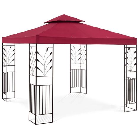 Uniprodo UNI_PERGOLA_3X3R Gartenpavillon Rankenmotiv Pavillon Festzelt Partyzelt Metall 3x3m weinrot