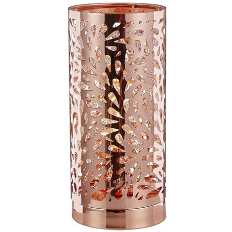Unique and Beautiful Copper Plated Table Lamp with Strings of Crystal Beads by Happy Homewares