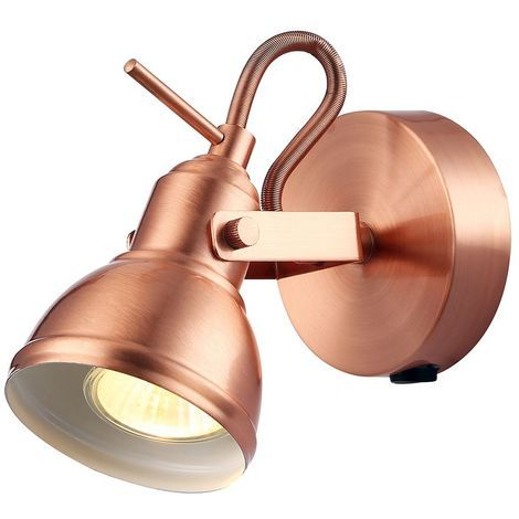 Unique Industrial Designed Brushed Copper Switched Wall Spot Light by Happy Homewares