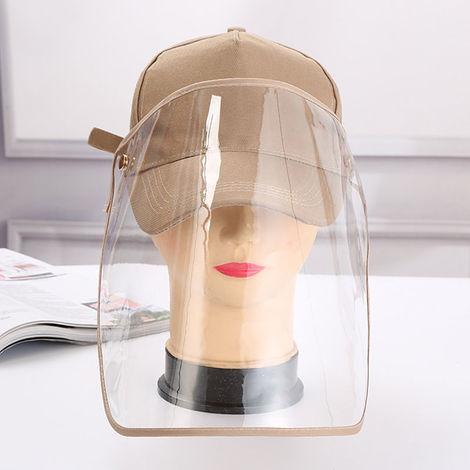 Unisex Baseball Cap Anti-Dust Anti-Wind Adjustable Removable Transparent Shield, Khaki