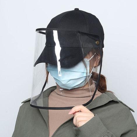 Unisex Baseball Cap Anti-Dust Anti-Wind Adjustable Removable Transparent Shield Outdoor Cap